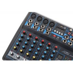 Audio2000s AMX7323 Professional Eight-Channel Audio Mixer with USB Interface, Bluetooth, and DSP S