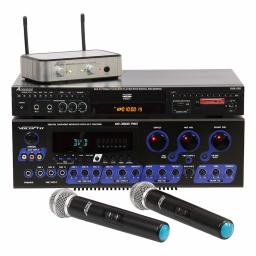 VOCOPRO KARAOKE SYSTEM, KARAOKE PLAYER & WIRELESS MICROPHONES + AUDIO2000'S SPEAKER SET