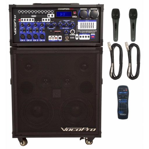 Vocopro CHAMPION-REC 200W 4-CHANNEL MULTI-FORMAT PORTABLE KARAOKE SYSTEM & 200 KARAOKE SONGS