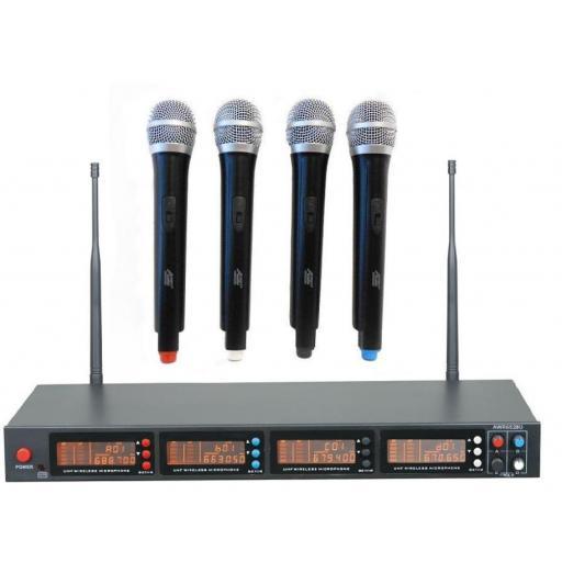 AUDIO2000Ss AWM6528U - UHF Four-Channel Wireless Microphone System