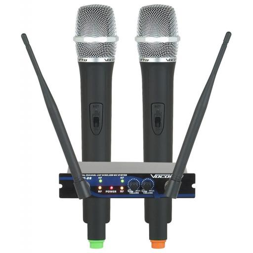 VOCOPRO UHF-28 DUAL CHANNEL UHF WIRELESS MICROPHONE SYSTEM