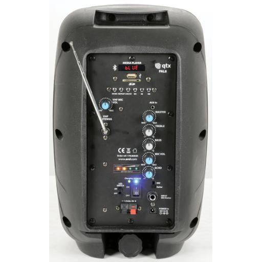 QTX PAL8 Portable PA Unit with Bluetooth® and LED FX