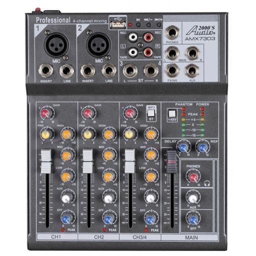 Audio2000s AMX7303- Professional Four-Channel Audio Mixer with USB and DSP Processor