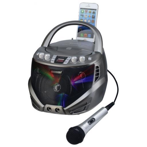 Karaoke USA GQ263 Portable CDG Karaoke Player with Flashing LED Lights