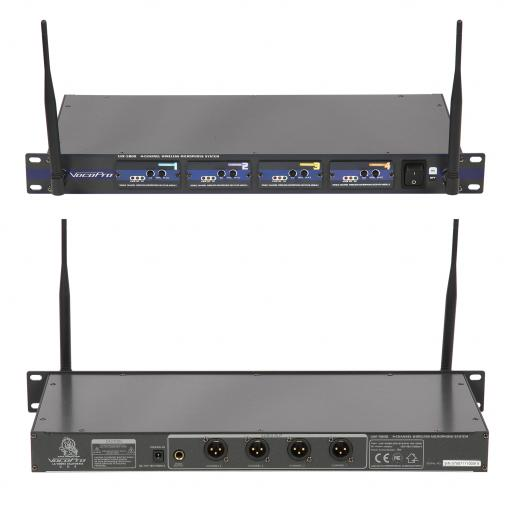 Vocopro UHF5800 Rackmount Quad Wireless Mic front and back.jpg