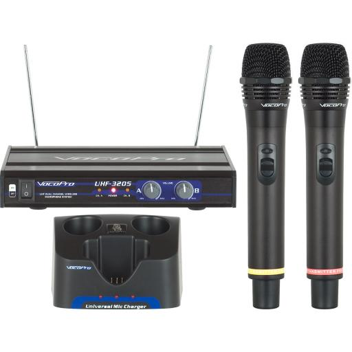 VOCOPRO UHF-3205 UHF DUAL CHANNEL RECHARGEABLE WIRELESS MICROPHONE SYSTEM