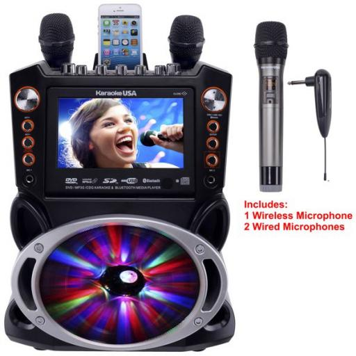 Karaoke GF846 + package includes 400 songs + UHF Twin Radio mic + 2 Cable Microphones