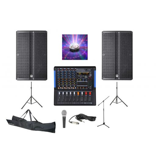 SYSTEM 8, 1200 WATTS HIGH GRADE PROFESSIONAL KARAOKE & PA PACKAGE.