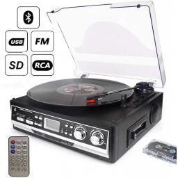 Turntable Cassette 7 In 1 Dl With Remote Control Bluetooth Radio Cassette Player Usb Sd And Encoding 3 Speed 33 45 78 Vinyl Turntable Record