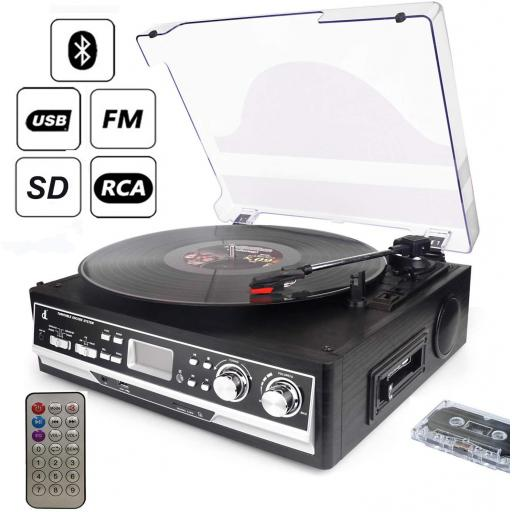 Turntable Cassette 7-in-1 dl with Remote Control, Bluetooth, Radio, Cassette Player, USB, SD and Encoding, 3-speed 33/45/78 vinyl Turntable Record Player