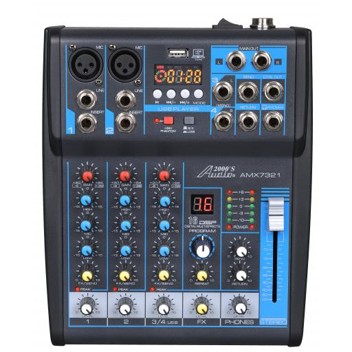 Audio2000s AMX7321- Professional Four-Channel Audio Mixer with USB Interface and DSP Sound Effects