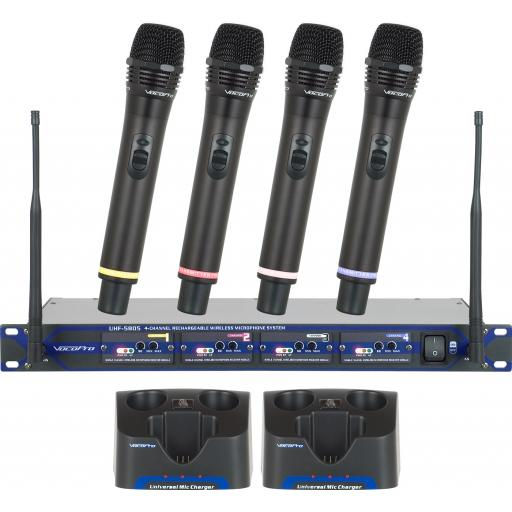 UHF-5805 Professional Rechargeable 4-Channel UHF Wireless Microphone System