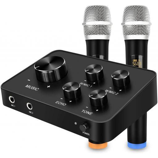 Karaoke UK, Portable Karaoke Microphone Mixer System Set, with Dual UHF Wireless Mic, HDMI & AUX In/Out for Karaoke,