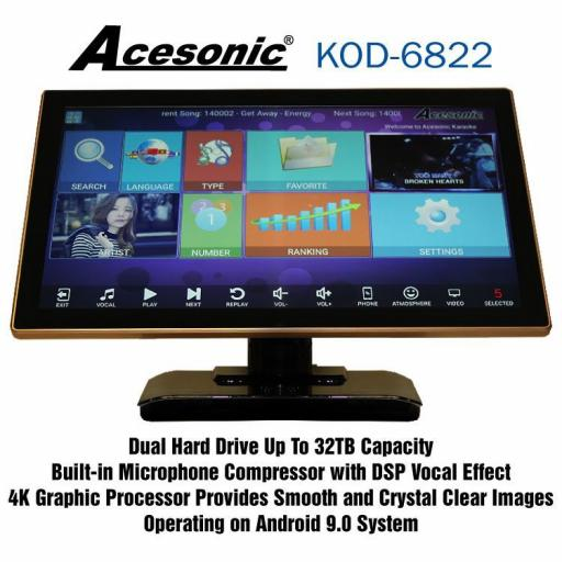 Acesonic KOD-6822 Dual Hard Drive Multimedia 100 tracks pre-loaded Karaoke Player Android Jukebox System built in 22 Inch Touch Screen