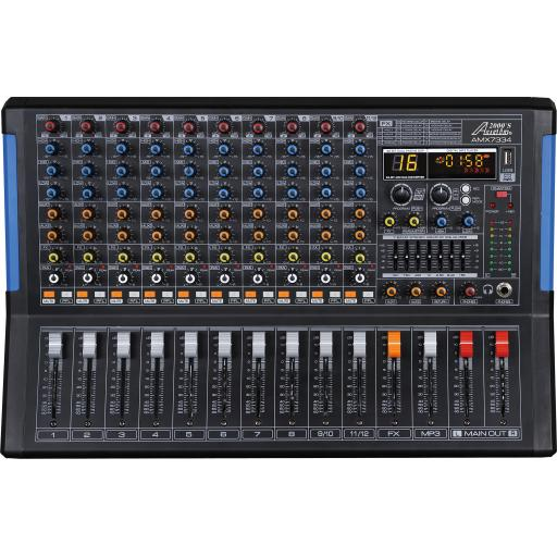 Audio2000s AMX7334- Professional 12-Channel Audio Mixer with USB Interface and DSP Sound Effects