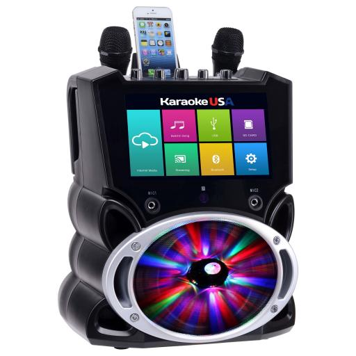 """Karaoke USA WK849 Complete Wi-Fi Bluetooth Karaoke Machine with 9"""" Touch Screen, Recording and Bluetooth Speaker"""