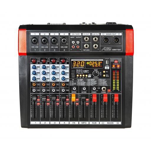 Audio2000s AMX7381 - Four Channel Audio Mixer with Built-in Amplifier, USB Interface and 320 DSP Sound Effects